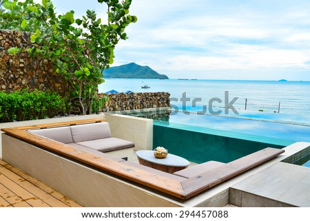 Seaview from luxury resort balcony - stock photo