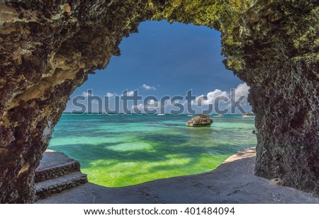 Seaview from the cave at Boracay island White Beach of Philippines - stock photo