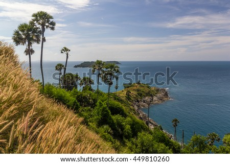Seaview & palm trees at Promthep Cape in Phuket, southern Thailand - stock photo