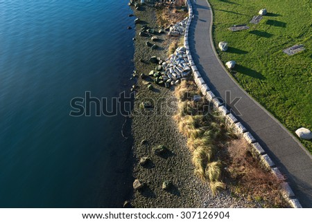 Seawall in Yaletown, Vancouver, Canada - stock photo