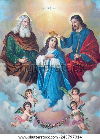 SEBECHLEBY, SLOVAKIA - JANUARY 3, 2015:  Typical catholic image of Coronation of Virgin Mary (in my own home) printed in Germany from the end of 19. cent. originally by unknown painter. - stock photo