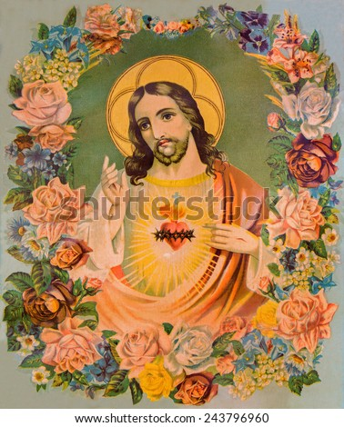SEBECHLEBY, SLOVAKIA - JANUARY 6, 2015: Typical catholic image of heart of Jesus Christ in flowers (in my own home) from Slovakia printed in Germany from end of 19. cent. originally by unknown artist. - stock photo