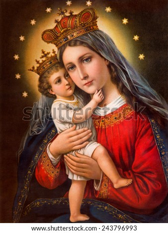 SEBECHLEBY, SLOVAKIA - JANUARY 2, 2015:  Typical catholic image of Madonna with the child (in my own home) printed in Germany from the end of 19. cent. originally by unknown painter.