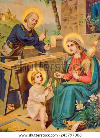 SEBECHLEBY, SLOVAKIA - JANUARY 2, 2015: Typical catholic image printed image of Holy Family (in my own home)  from the end of 19. cent.  printed in Germany originally by unknown painter. - stock photo
