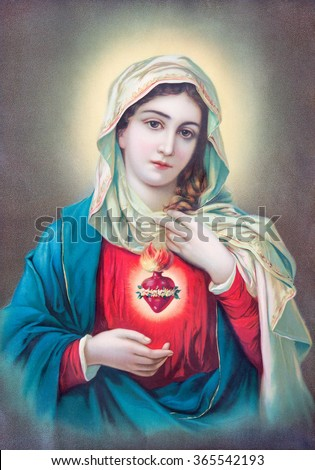SEBECHLEBY, SLOVAKIA - JULY 27, 2015: Typical catholic image of heart of Virgin Mary from Slovakia printed in Germany from the begin of 20. cent. originally by unknown artist.