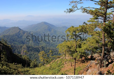 Secenry beauty of mountain rages on Doi Wiang Pha national park, Chiangmai, Northern of Thailand.