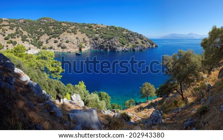 Secluded bay in the Turkish Mediterranean, between Marmaris and Fethiye, Turkey, Europe - stock photo
