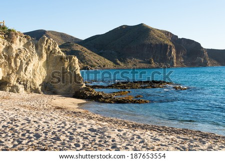 Secluded beach amidst Cabo de Gata natural park, Andalusia,  Spain