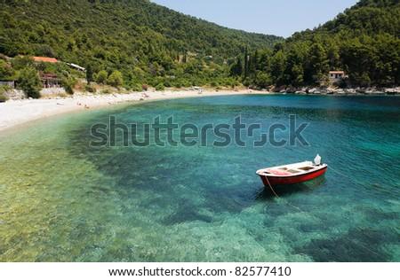 Secluded beach in Croatia - stock photo