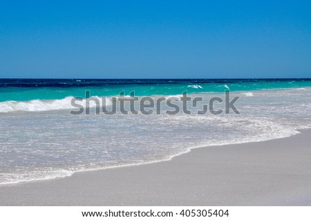Secluded beach with turquoise Indian Ocean waters in Hillarys, Western Australia/Secluded Beach/Hillarys, Western Australia. - stock photo
