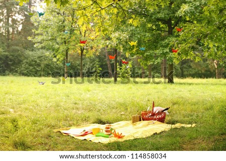 Secluded romantic place to stay in the forest - stock photo