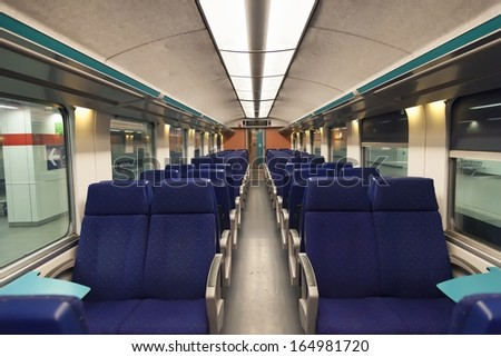 Second class wagon in belgium intercity train  - stock photo