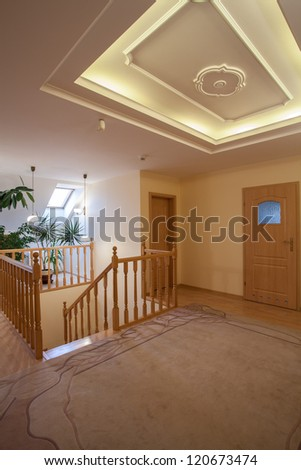 Second floor of new house, wooden staircase