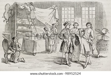 Second hand dealer store old illustration. Created by Gusman, published on Magasin Pittoresque, Paris, 1882 - stock photo