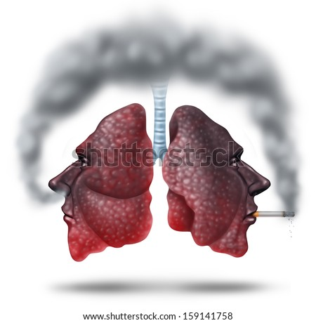 Second hand smoke health care concept for cigarette smoking risks as human lungs in shaped as a head as one smoker and another innocent victim lung breathing the toxic fumes turning the organ black. - stock photo