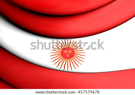 Second Official Flag of Peru (1822). 3D Illustration.    - stock photo