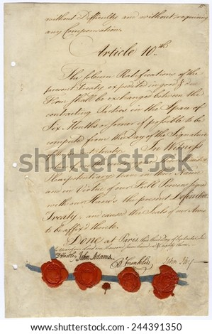 Second page of Treaty of Paris 1783. Signatures of John Adams Benjamin Franklin and John Jay of the United States and David Hartley of the British Parliament. January 14 1784. - stock photo