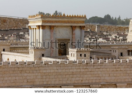 Second Temple. Model of the ancient Jerusalem. Israel Museum - stock photo