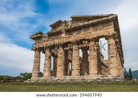 Second temple of Hera at Paestum archaeological site, one of the most well-preserved ancient Greek temples in the world, Province of Salerno, Campania, Italy - stock photo