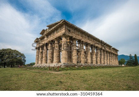 Second temple of Hera at Paestum archaeological site, one of the most well-preserved ancient Greek temples in the world, Province of Salerno, Campania, Italy