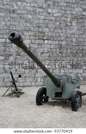 Second world war artillery. Old military gunnery. Military cannon at the old castle.