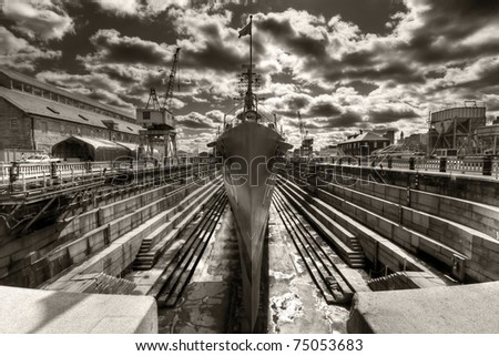 Second World War Battleship Casin Young. - stock photo