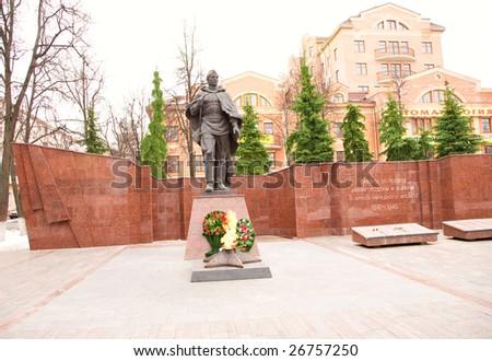 Second world war dedicated memorial (Zvenigorod, near Moscow) - stock photo