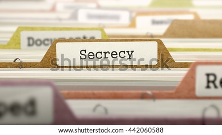 Secrecy Concept on File Label in Multicolor Card Index. Closeup View. Selective Focus. 3D Render.  - stock photo