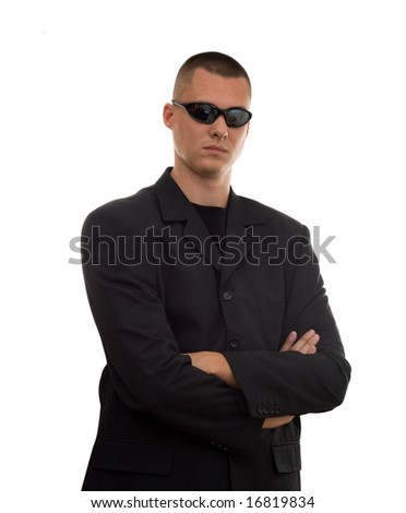 secret agent with glasses studio isolated - stock photo