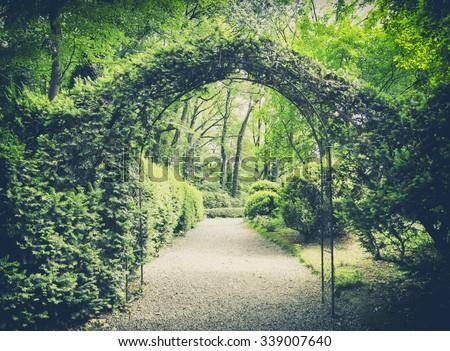 secret garden in vintage style - stock photo