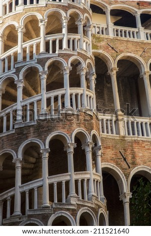 Secret gem of Venice named Palazzo Contarini del Bovolo with famous staircase details in vertical position, Italy - stock photo