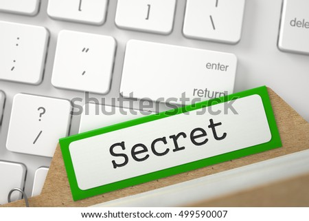 Secret. Green Index Card Lays on White PC Keyboard. Business Concept. Close Up View. Selective Focus. 3D Rendering.