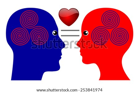 Secret of Love. To have things in common is one step towards strong emotional feelings  - stock photo