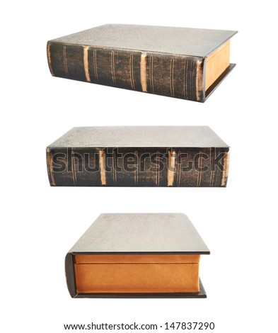 Secret old book shaped casket isolated over white background, set of three foreshortenings - stock photo
