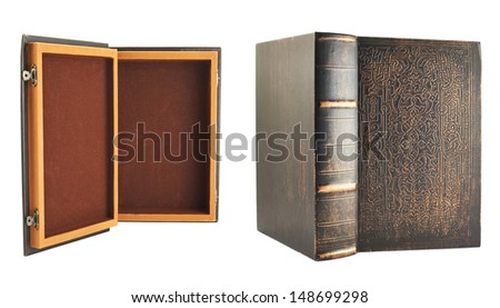 Secret old book shaped casket isolated over white background, set of two foreshortenings, back and front views - stock photo