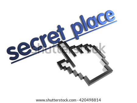 secret place. 3d rendered inscription. Link and finger, pointer. Isolated on white - stock photo
