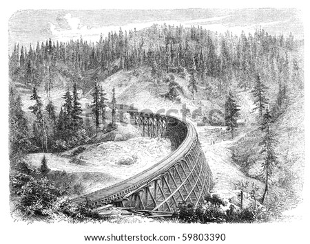 "Secret Town Trestle, California. Illustration originally published in Hesse-Wartegg's ""Nord Amerika"", swedish edition published in 1880. - stock photo"