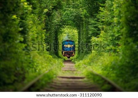 secret train 'tunnel of love' in ukraine - stock photo
