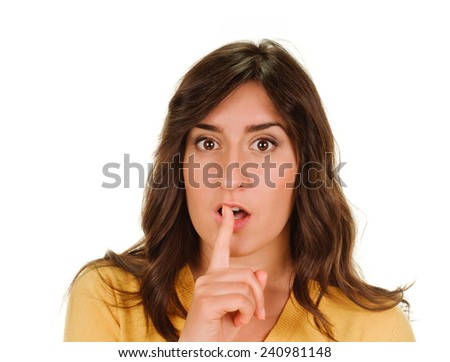 Secret woman. woman shows hush be quiet. isolated on white background. - stock photo