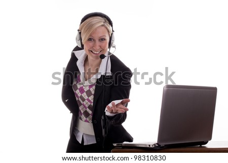 Secretary points to viewer - stock photo