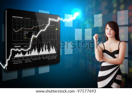 Secretary present the stock exchange graph report - stock photo