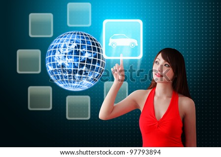 Secretary touch Car icon from the earth: Elements of this image furnished by NASA - stock photo