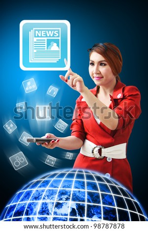 Secretary touch News icon from mobile phone : Elements of this image furnished by NASA