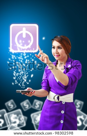 Secretary touch Power icon from mobile phone - stock photo
