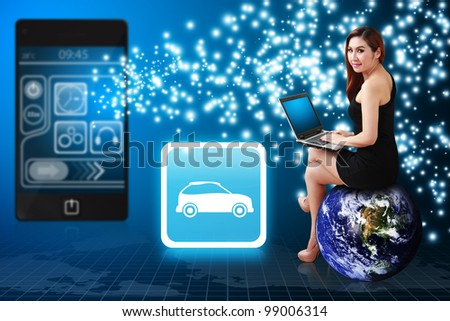 Secretary use notebook computer and Car icon from mobile phone : Elements of this image furnished by NASA - stock photo