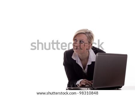 Secretary with laptop - stock photo