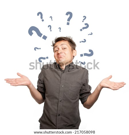 Secretive man spreads his arms, and a question mark, isolated - stock photo