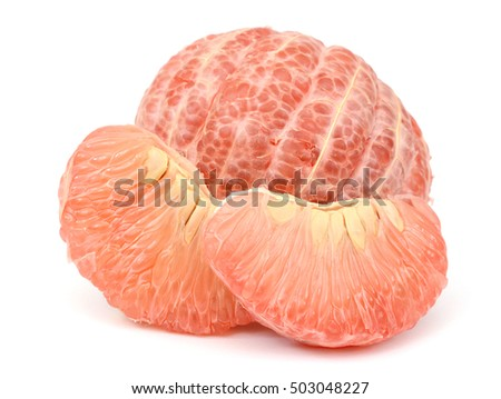 section of a grapefruit isolated on white background