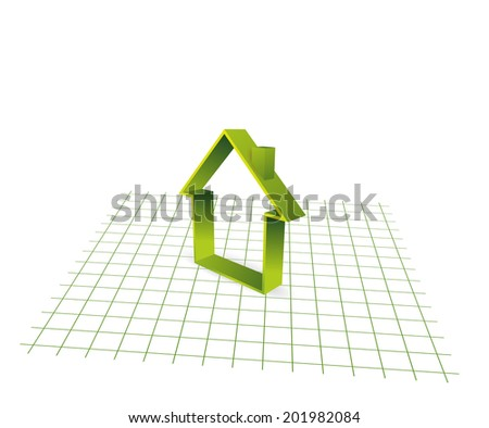 section of a house on abstract graph paper