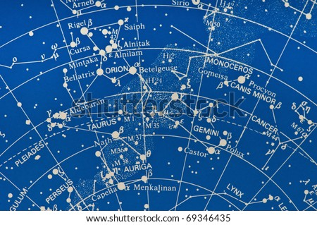 Section of a star map showing the Milky Way Gemini, Orion and Pleiades area. - stock photo